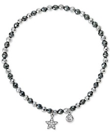 Cubic Zirconia Star Beaded Stretch Bracelet in Sterling Silver & Silver-Plated Hematite
