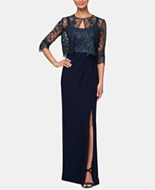 Alex Evenings Petite Lace Jacket & Sleeveless Gown