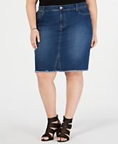 d04f535c1cf I.N.C. Plus Size Raw-Edge Jean Skirt