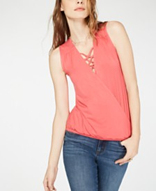 I.N.C. Petite Lace-Up Surplice Top, Created for Macy's