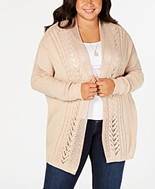 Plus Size Open-Front Mixed-Stitch Knit Cardigan