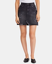 Free People Hallie Distressed Denim Skirt