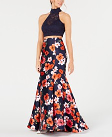 B Darlin Juniors' 2-Pc. Lace Floral-Print Gown, Created for Macy's