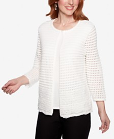 Alfred Dunner Classics Layered-Look Open-Knit Top