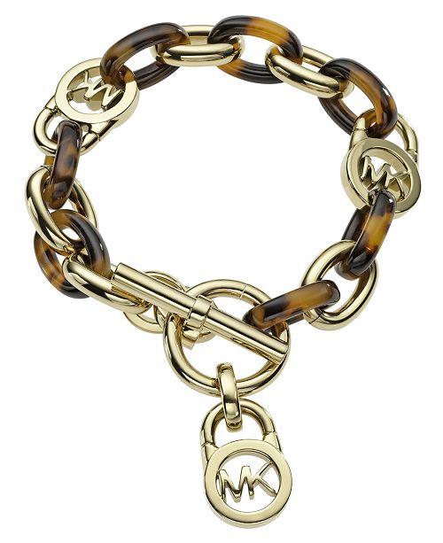 d6e02297c85a7 Michael Kors Gold-Tone Tortoise Acetate Link Toggle Bracelet ...