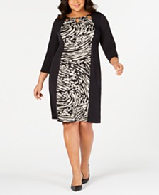 JM Collection Plus & Petite Plus Size Printed Triple-Keyhole Dress, Created for Macy's