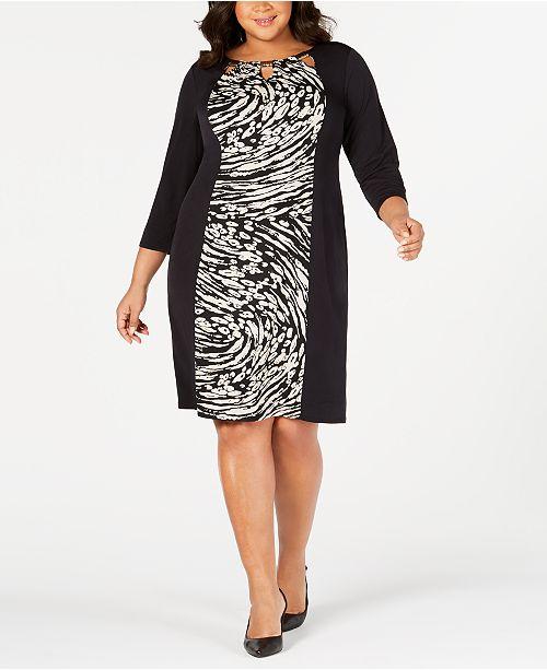 JM Collection Plus & Petite Plus Size Printed Triple-Keyhole Dress ...
