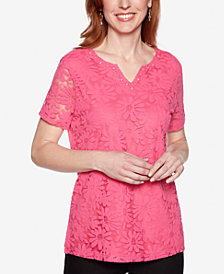 Alfred Dunner Classic Lace-Front Split-Neck Top
