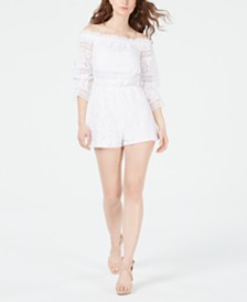 GUESS Savina Off-The-Shoulder Lace Romper