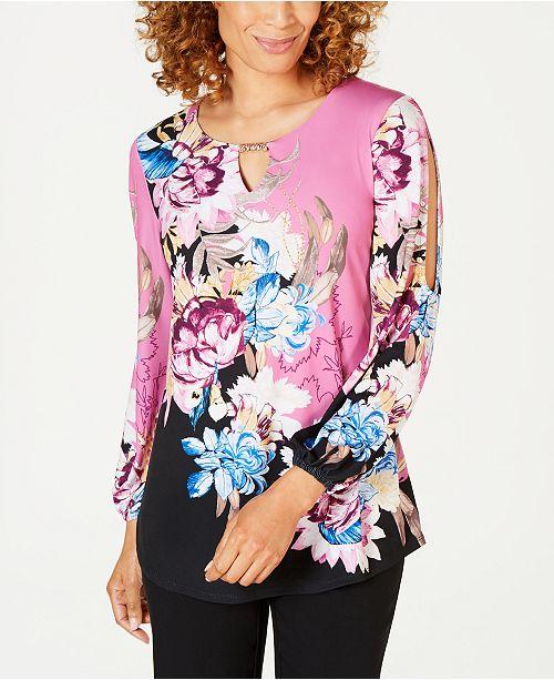 pourAvis fendue manches Tops Peony Petites Collection de Jm CollectionCree Phoenix Petite Floral tricot a en Tunique oQBeWCxEdr