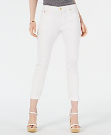 MICHAEL Michael Kors Petite Dillon Cuffed Ripped Ankle Jeans