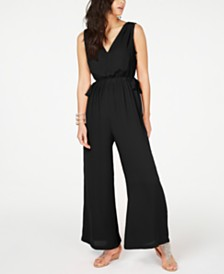 Thalia Sodi Tie-Waist V-Neck Jumpsuit, Created for Macy's