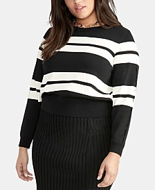 RACHEL Rachel Roy Trendy Plus Size Cecily Striped Sweater