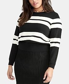 RACHEL Rachel Roy Trendy Plus Size Cecily Striped Sweater