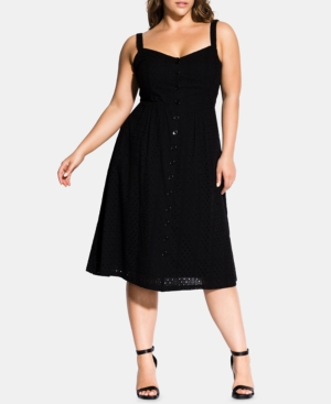 City Chic Dresses TRENDY PLUS SIZE EYELET MIDI DRESS