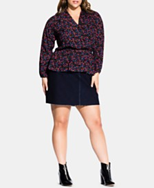 City Chic Trendy Plus Size Floral-Print Peplum Top