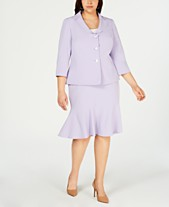 01e3bfc60a0 Le Suit Plus Size Three-Button Skirt Suit