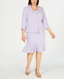 Le Suit Plus Size Three-Button Skirt Suit