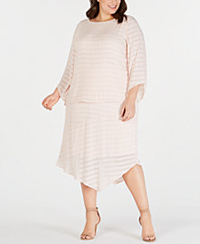 Alfani Plus Size Textured Top & Pointed-Hem Skirt, Created for Macy's