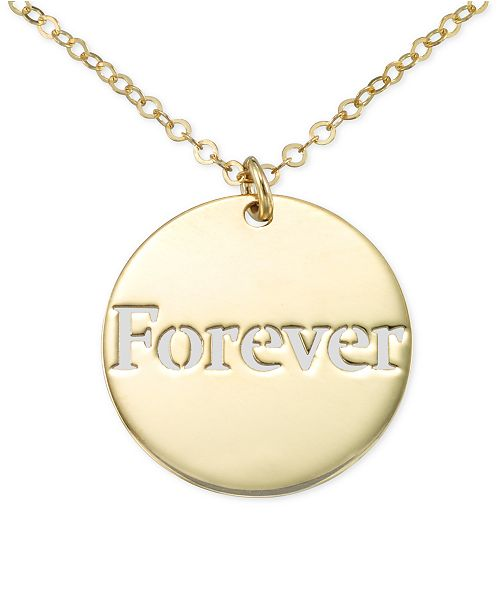 """Italian Gold Forever Cutout Disc 18"""" Pendant Necklace in 10k Gold"""