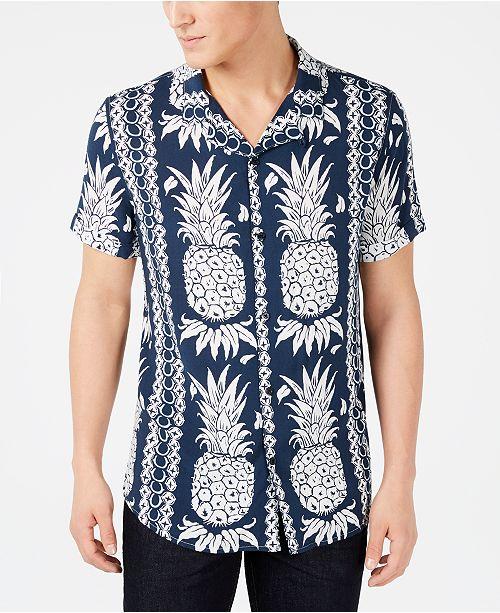 27345bdc3e1130 GUESS Men s Hawaiian Pineapple Shirt  GUESS Men s Hawaiian Pineapple ...