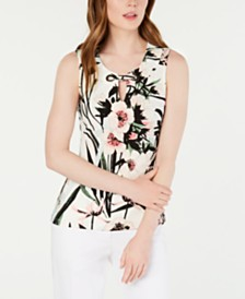 Tommy Hilfiger Sleeveless Printed Grommet Top