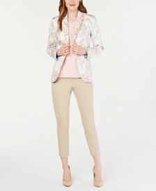 Tommy Hilfiger Floral-Print Blazer, Lace Top & Cropped Pants