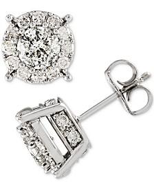 Diamond (1-1/2 ct. t.w.) Halo Stud Earrings in 14k White Gold