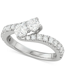 Diamond Bypass Engagement Ring (1-1/2 ct. t.w.) in 14k White Gold