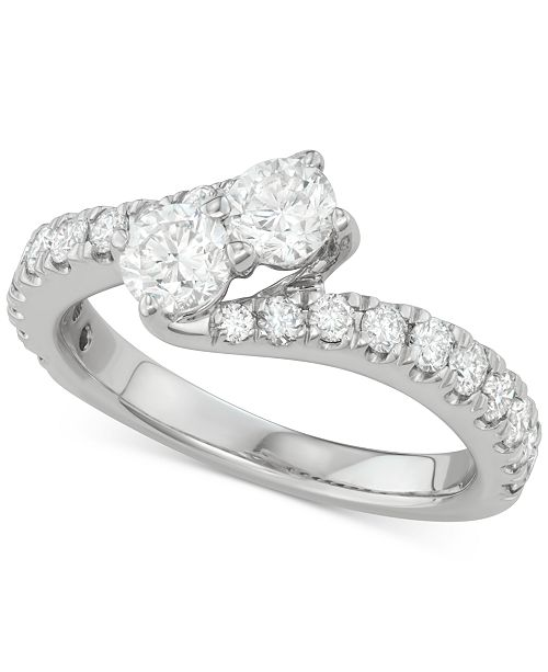 Two Souls, One Love® Diamond Bypass Engagement Ring (1-1/2 ct. t.w.) in 14k White Gold