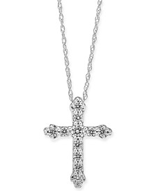 """Diamond Cross 18"""" Pendant Necklace (1/4 ct. t.w.) in 14k White Gold or 14k Gold"""