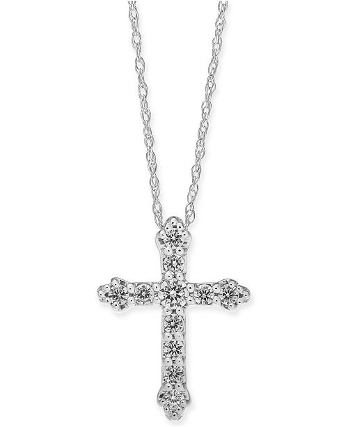 "Macy's Diamond Cross 18"" Pendant Necklace (1/4 ct. t.w.) in 14k White Gold or 14k Gold"
