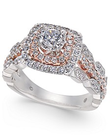 Diamond Halo Statement Ring (1 ct. t.w.) in 14 White Gold & 14k Rose Gold