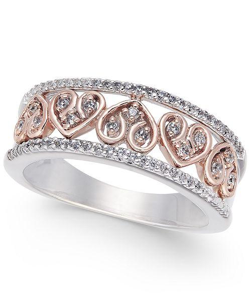 Macy's Diamond Heart Openwork Ring (1/4 ct. t.w.) in 14k White Gold & 14k Rose Gold