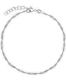 Singapore Link Ankle Bracelet in Sterling Silver