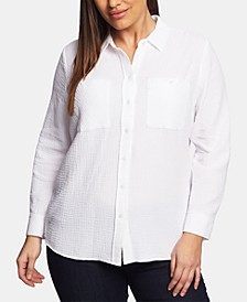Plus Size Cotton Gauze Shirt