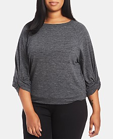 1.STATE Plus Size Knotted-Sleeve Sweatshirt