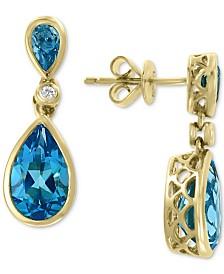 EFFY® Blue Topaz (4 ct. t.w.) & Diamond Accent Drop Earrings in 14k Gold