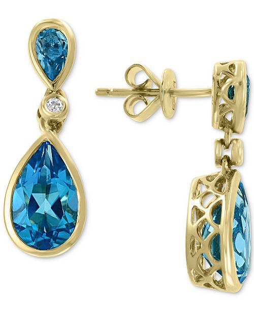 EFFY Collection EFFY® Blue Topaz (4 ct. t.w.) & Diamond Accent Drop Earrings in 14k Gold