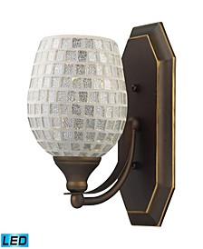 1 Light Vanity in Aged Bronze and Silver Mosaic Glass - LED Offering Up To 800 Lumens (60 Watt Equivalent)
