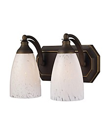 Vanity 2 Light Aged Bronze with Snow White Glass