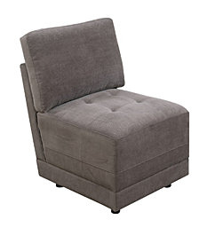 Benzara Waffle Suede Armless Chair with Back Cushion