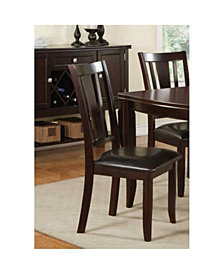 Benzara Contemporary Rubber Wood Dining Chair with Upholstered Seat, Set of 2