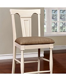 Benzara Cottage Counter Height Chair with Fabric Cushion, Set of 2