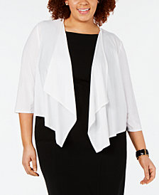 R & M Richards Plus Size Mesh-Back Cardigan