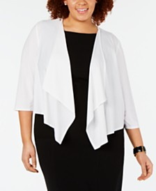 R & M Richards Plus Size Mesh-Back Shrug