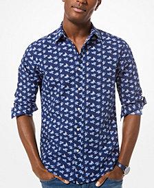 Michael Kors Men's Slim-Fit Floral-Print Seersucker Shirt