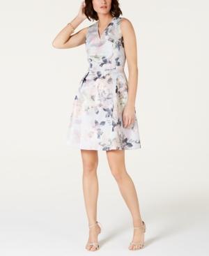 Tahari Asl Dresses METALLIC FLORAL JACQUARD FIT & FLARE DRESS