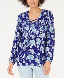 Style & Co Printed Pintucked Lace-Up Top, Created for Macy's