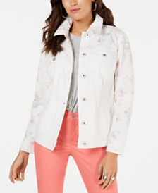 Style & Co Floral-Print Denim Trucker Jacket, Created for Macy's